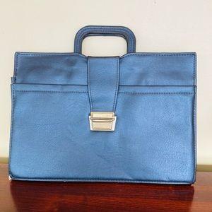 Vintage retro men's black briefcase w/ buckle